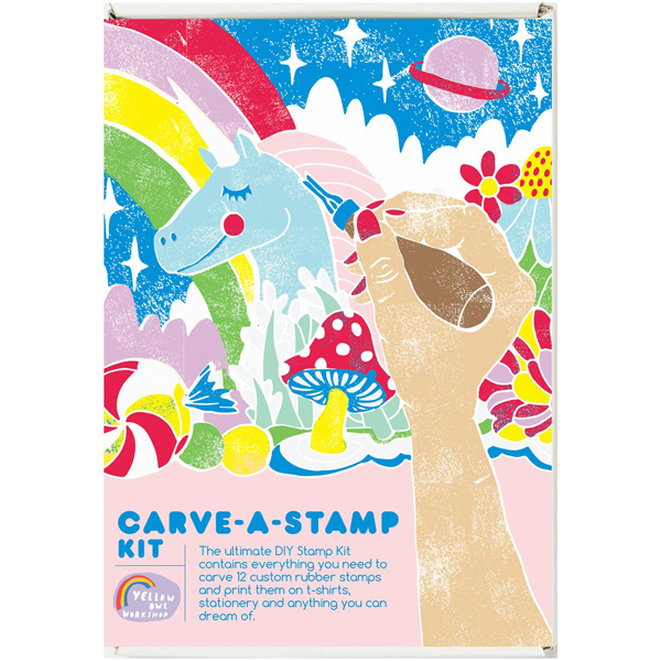 yellow owl carve a stamp kit 3