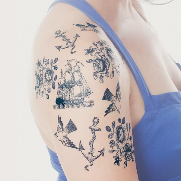 TATTLY Temporary Tattoos nautical set