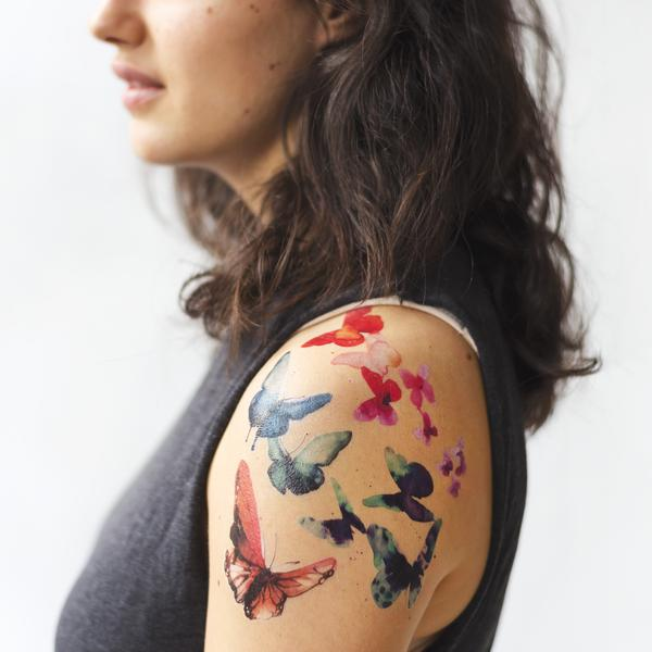 TATTLY Temporary Tattoos watercolor butterflies set